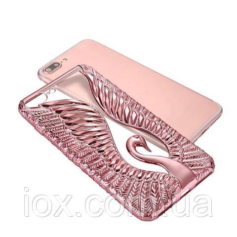 Мягкий рельефный чехол Лебедь для Iphone 6/6s (розовый)