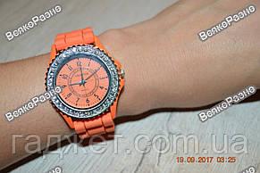 Женские часы Geneva cо стразами оранжевые, фото 2