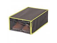 Коробка для хранения обуви МД 22х35х12 см UC10218 серая с салатовым