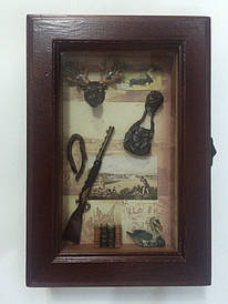 """Ключниця настінна, дерев'яна -""""Полювання"""" 58206 A"""