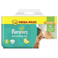 ПОДГУЗНИКИ PAMPERS ACTIVE BABY-DRY, РАЗМЕР 5 (11-18КГ,) 110ШТ (ПАМПЕРС АТИВ БЕЙБИ)