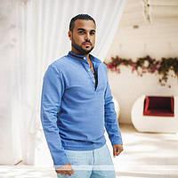 Рубашка мужская льняная со стойка-воротником P7485