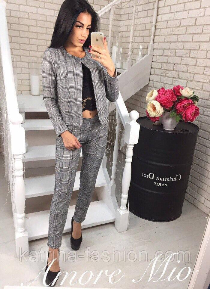 e0b2e6ca7af Женский серый модный костюм в клетку  жакет и брюки из джерси - KATRINA  FASHION -