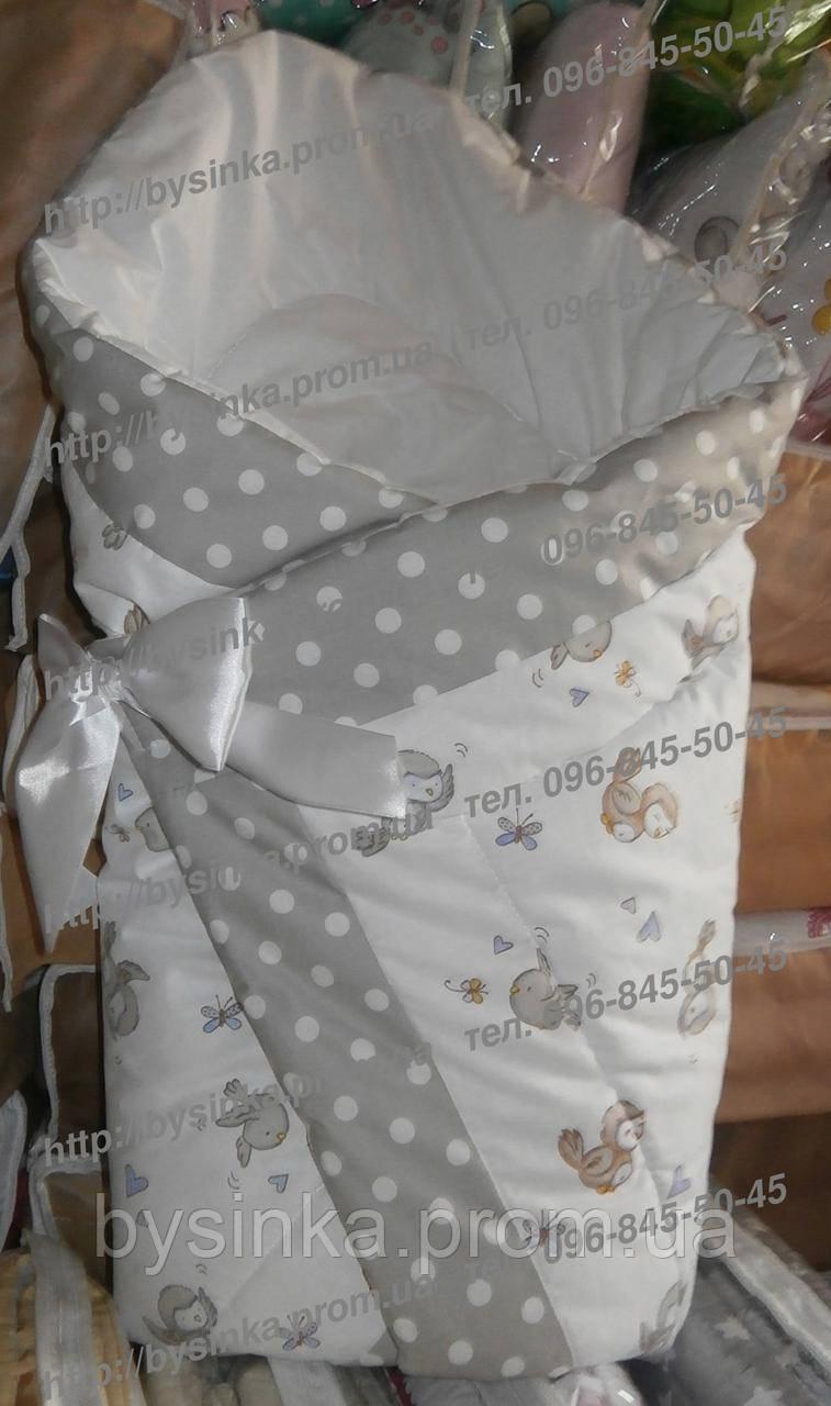 Зимний конверт-одеяло на выписку холодная-осень/весна на липучке с красивым бантом (зимний), 90х90 Птички