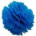 Декор бумажные Помпоны 20 см лазурно синий 0005