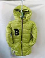 Куртка детская демисезоннаядля девочки7-10 лет,сердечки салатовая