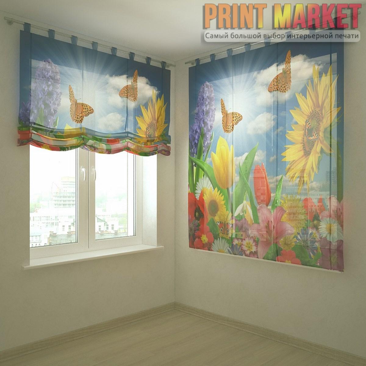 Шторы с фотопечатью цветы и бабочки - Принт Маркет в Днепре