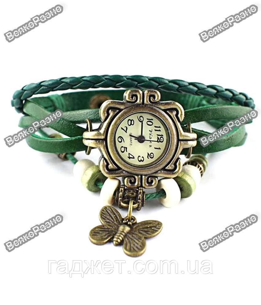 Женские наручные часы браслет зеленого цвета