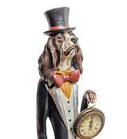 """Декоративная статуэтка с часами """"Собака Сэр Джеймс"""" NS-153. Символ 2018"""