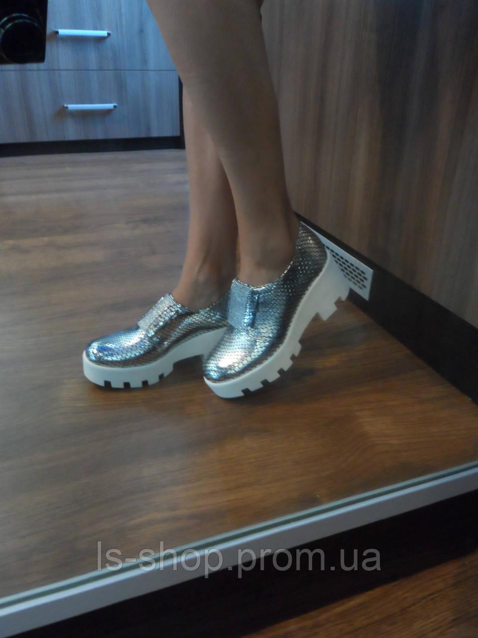 bf45da2bf Маломерки, фото 4 Женские кожаные серебристые туфли, а.т33серебро.  Маломерки, фото 5
