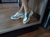 Женские кожаные серебристые туфли, а.т33серебро. Маломерки