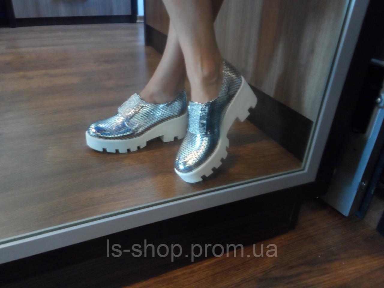 d13c924f7 Женские кожаные серебристые туфли, а.т33серебро. Маломерки: продажа ...