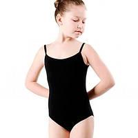 Купальник гимнастический на бретелях Хлопок черный DR-111-CB детский (р-р RUS-32-42, 122-164см)