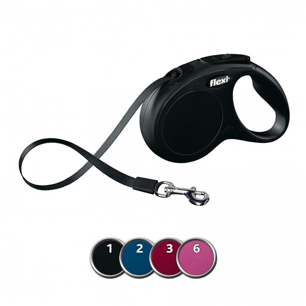 FLEXI (Флекси) NEW CLASSIC S 5м/15кг, лента - поводок-рулетка для собак (4 цвета)