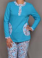 Теплая пижама женская зимняя домашняя хлопковая с начесом трикотажнаякофта с брюками