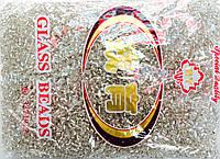 Бисер крупный 450грм в упаковке, цвет  белый-серебро