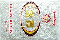 Бисер крупный 450грм в упаковке, цвет белый-глянец