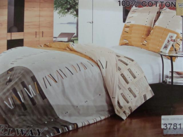 Сатиновое постельное белье полуторное ELWAY 3781