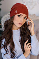 Зимняя женская шапка-колпак «Луис» Терракотовый