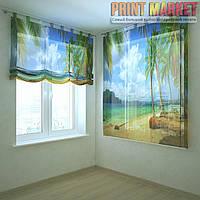 Шторы с фотопечатью берег и пальмы