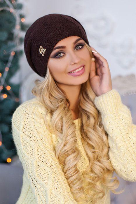 Зимняя женская шапка-колпак «Луис» Коричневый