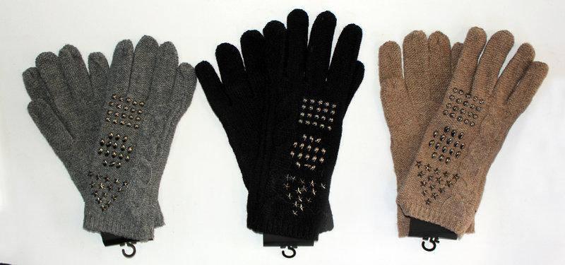 Стильні прикрашені стразами жіночі рукавички з вовни, фото 2
