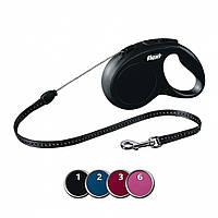 FLEXI (Флекси) NEW CLASSIC M 5м/20кг, трос - поводок-рулетка для собак (4 цвета)
