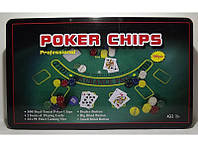 Набор для игры в покер в метал. упаковке (300 фишек+2 колоды карт+полотно) I3-99, покерный набор
