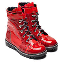 Ботиночки кожаные, лаковые  для девочки на молнии ТМ FS collection. Размер 27-36