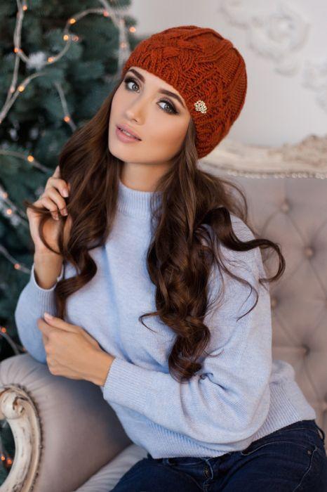 Зимняя женская шапка «Камелия» Терракотовый