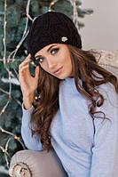 Зимняя женская шапка «Камелия» Черный