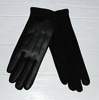 Стильные женские перчатки из кожи и трикотажа