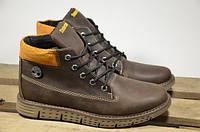 Мужские зимние кожаные ботинки Timberland коричневые Т-34