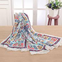Стильный легкий женский шарф с принтом белого цвета