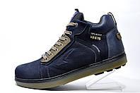 Кожаные мужские ботинки Splinter, зимние на меху (Dark Blue)