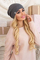 Зимняя женская шапка-колпак «Габби» Темно-серый меланж