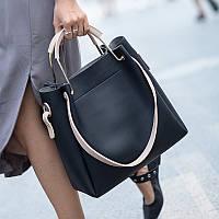 Стильная большая вместительная женская сумка черного цвета