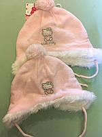 Розовая теплая на флисе шапочка для девочки 48-49 размер от C&A Германия