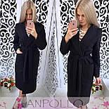 Модне жіноче кашемірове пальто нижче колін з поясом і підкладкою (4 кольори), фото 8