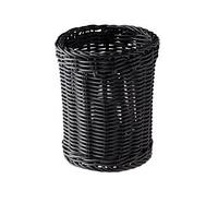Диспенсер для столовых приборов круглый черный D12см, Н15см из ротанга APS 40007