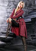 Элегантный и теплый женский кардиган цвета марсала