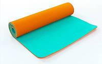 Коврик для фитнеса Yoga mat 2-х слойный оранжевый-мятный TPE+TC 6мм  FI-5172-1