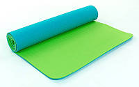 Коврик для фитнеса Yoga mat 2-х слойный бирюзовый-салатовый TPE+TC 6мм  FI-5172-16
