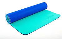 Коврик для фитнеса Yoga mat 2-х слойный синий-мятный TPE+TC 6мм  FI-5172-8