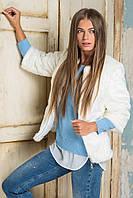 Шубка женская модная из эко меха короткая белая