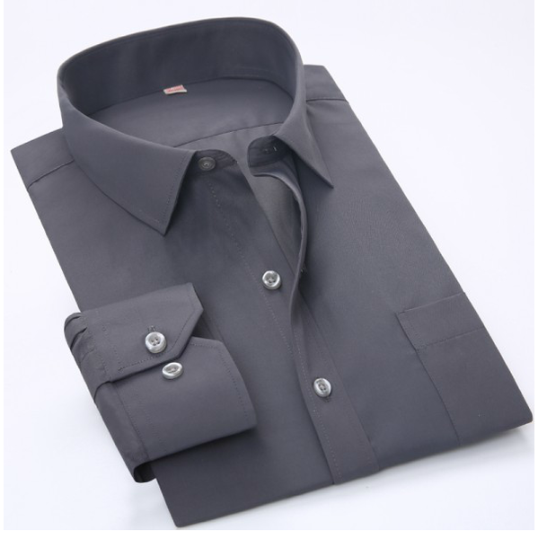 Мужская рубашка с длинным рукавом гладкая