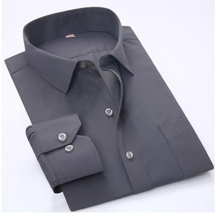 Мужская рубашка с длинным рукавом гладкая, фото 2