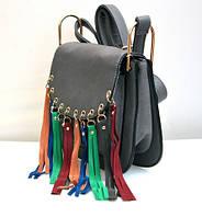Оригинальная молодёжная женская сумка клатч VTTV серая
