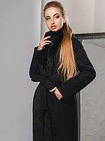 СуперЭлегантное Зимнее Пальто с Натуральным Мехом под Пояс Черное