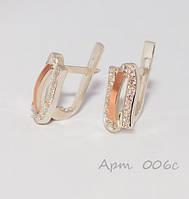 Серьги серебряные с накладками золота, фото 1